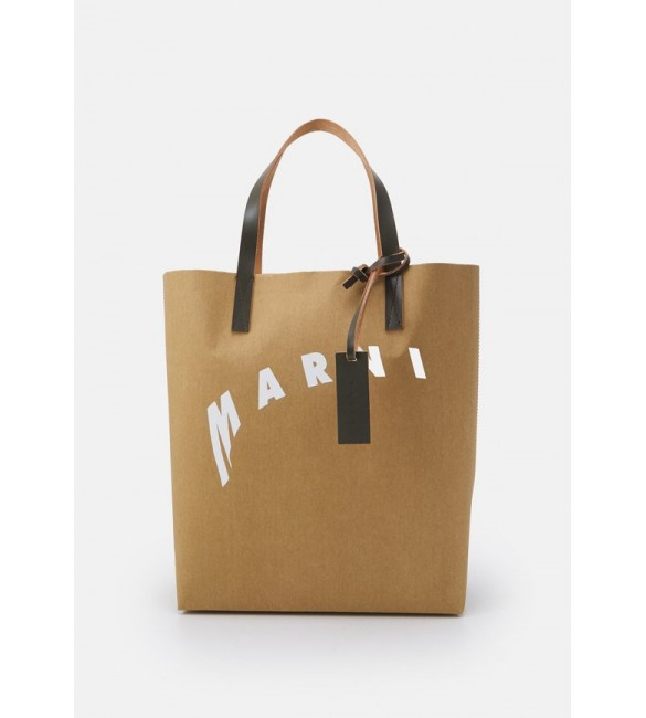 Marni SHOPPING BAG - Tote bag - cement/natural white/thyme/beige